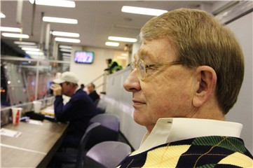 Delmar McCaig in the David Housel press box at Jordan-Hare Stadium in Auburn