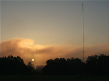 199' tower at sunrise, located behind the WTLS studios on the banks of the Tallapoosa in the industrial park