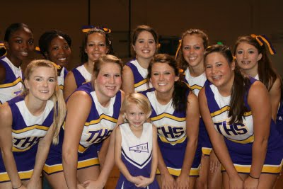 WTLS Cheerleader Georgia Anne Butler with the 2009 Tallassee High School Cheerleaders